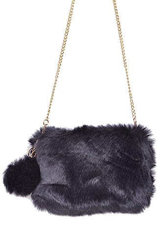 Navy PPC5718 Faux Square W Bag Fur Shoulder Clutch Fluffy Womens PomPom wHSCqTn