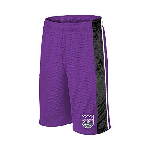 NBA Sacramento Kings Children Unisex NBA Youth bar Stripe Poly Shorts,L,Purple/Black/White