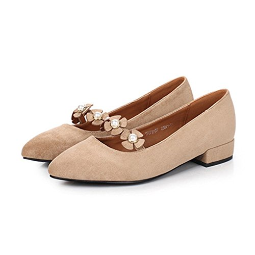 Giy Femmes Mary Jane Slip-on Mocassins Pompes Chaussures Daim Perle Bout  Pointu Bloc Talon ...