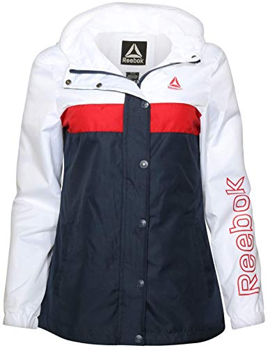 Reebok Ladies Lightweight Hooded Windbreaker Jacket with Zipper and Snap Button Cover, White/Navy, Size Medium'