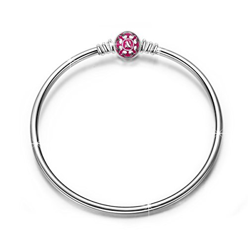 NINAQUEEN 925 Sterling Silver Bangle Bracelet with Hot Pink Snap Clasp 7.5 Inches, Birthday Anniversary Graduation Wedding Gifts for Women Wife Bracelets for Charms Teen Girls