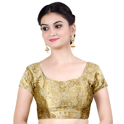 Chandrakala Women's Stretchable Readymade Lycra Gold Indian Ethnic Saree Blouse Crop Top Choli-2X-Large (B116GOL6)