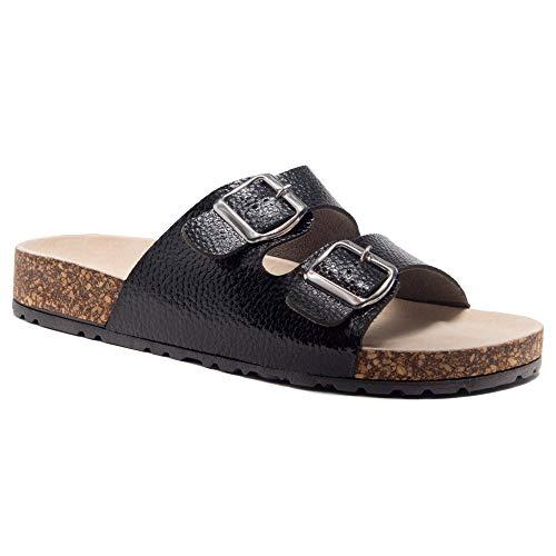 Herstyle Viviana Women's Comfort Double Buckled Slip on Sandal Casual Cork Platform Sandal Flat Open Toe Slide Shoe