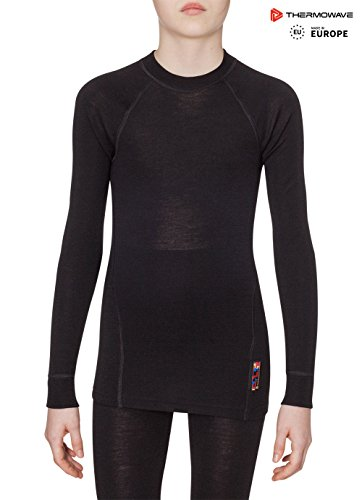 THERMOWAVE - MERINO WARM / Junior Merino Wool Thermal Shirt / BLACK - (Junior Thermal)