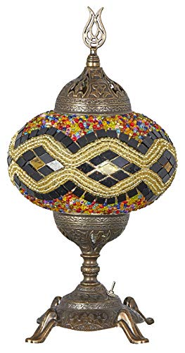 - (15 Colors) Battery Operated Mosaic Table Lamp with Built-in LED Bulb, Turkish Moroccan Handmade Mosaic Table Desk Bedside Mood Accent Night Lamp Light Lampshade with LED Bulb,No Cord (Amber)
