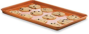 Ceramic Coated Cookie Sheet – Premium Nonstick, Even Baking, Dishwasher and Oven Safe - PTFE/PFOA Free - Red Cookware and Bakeware by Bovado USA