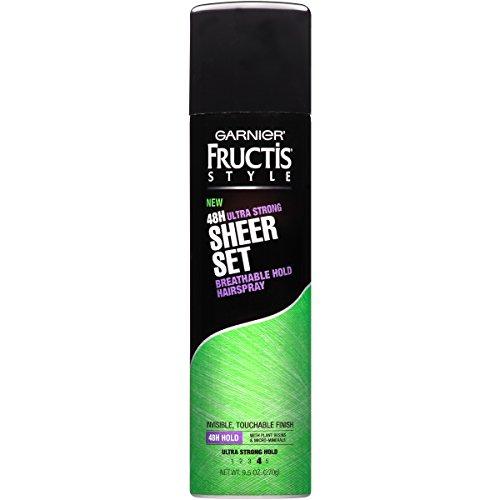 Set Spray Hair - Garnier Fructis Style Sheer Set Ultra Strong Hold Breathable Hairspray, All Hair Types, 9.5 oz. (Packaging May Vary)