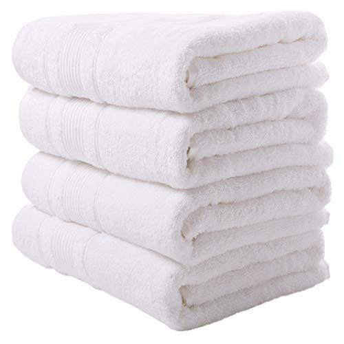 Qute Home Towels 100% Turkish Cotton White Bath Towels Set | Super Soft Highly Absorbent | Spa & Hotel Towels Quality Quick Dry Towel Sets for Bathroom, Shower Towel, Gym – (Bath Towel - Set of 4)