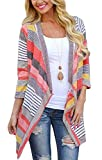 BISHUIGE Women's 3/4 Sleeve Striped Printed Cardigans Open Front Draped Kimono Loose Cardigan Sweaters Reviews