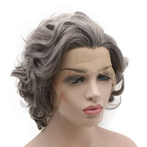 Iewig Short Curly Old Lady Gray Heat Friendly Wig Natural Looking Synthetic Lace Front Stylish Wig -