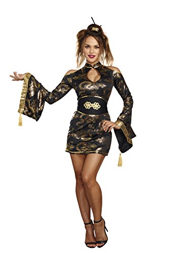 Girl Black Costume Geisha (Dreamgirl Women's Golden Geisha, Black/Gold,)