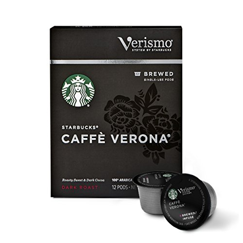 Starbucks Verismo Caffe Verona Brewed Coffee Single Serve Verismo Pods, Dark Roast, 6 boxes of 12 (72 total Verismo pods) (Cafe Starbucks)