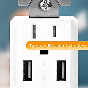 Top Greener TU2154A-W 4A High Speed USB Charger Receptacle 15A Tamper-Resistant Outlet , Screwless Wall Plates, White (Pack of 10)