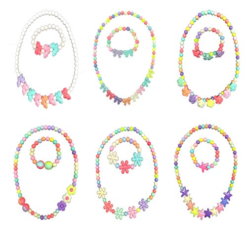 HYHP Girls Jewelry Toddler Costume Jewelry, 6 Pack Princess Necklace Kids Jewelry (6 Patterns)]()