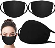 3 Pack Unisex Face Shield ,face covering with Comfortable Earloop,Individually Wrapped,Black Cotton, Washable,