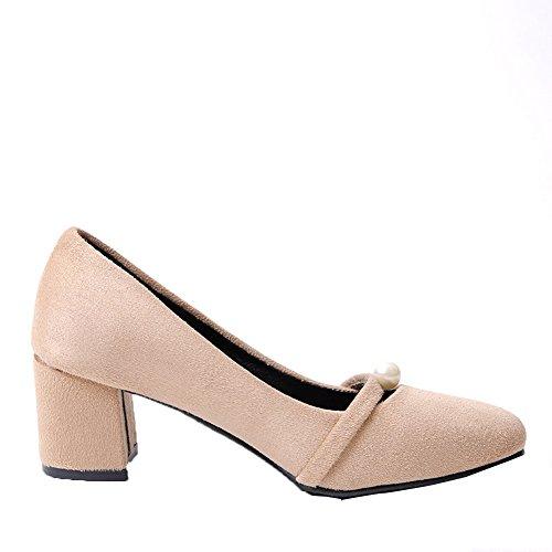 Caqui Gmxdb006711 Cordones Agoolar De Zapatos Sólido Mujeres Tacón Sin q0t480