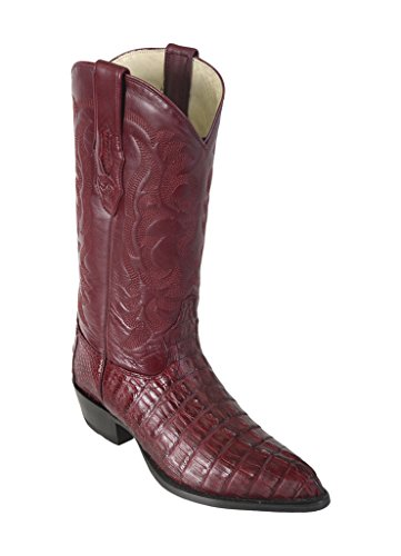 Men's Skin Caiman Genuine Leather Altos Boots Burgundy J Los Toe Tail Western Bq6Uw15