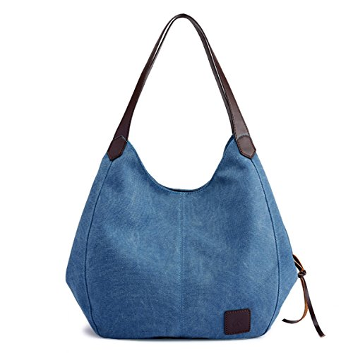 (Hiigoo Fashion Women's Multi-pocket Cotton Canvas Handbags Shoulder Bags Totes Purses (Dark Blue))