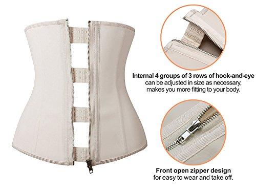0ba8b9ab03cab YIANNA Women Latex Underbust Waist Training Corsets Cincher Zip Hook Hourglass  Body Shaper