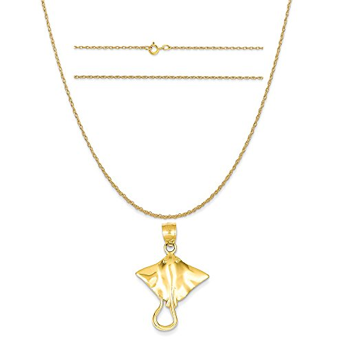 14k Yellow Gold Stingray Pendant on a 14K Yellow Gold Carded Rope Chain Necklace, 20