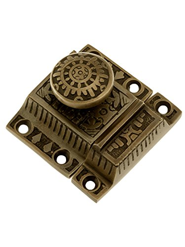 Windsor Cast (Solid Brass Windsor Pattern Cabinet Latch With Round Knob In Antique By Hand)