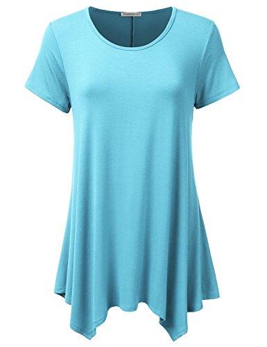 JJ Perfection Womens Swing Tunic Tops Loose Fit Basic Flattering T Shirt Aqua (Aqua Top)
