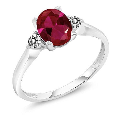 10K White Gold 1.28 Ct Red Created Ruby White Diamond 3-Stone Ring