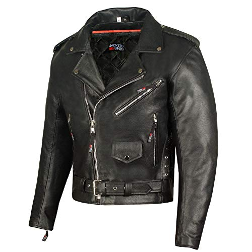 Classic Side Lace Motorcycle Jacket - Men's ICONIC Motorcycle Premium Leather Classic Side Lace Biker Jacket L