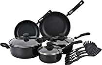 Home N Kitchenware Collection 12 Piece Aluminum Non stick Cookware Set, 3.0mm thickness, Includes Utensils, Black