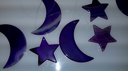 Purple Colored Moon & Star Agate Wind Chime - Agate Sun Catcher - Agate Mobile - Made From The Highest Grade Unique and Beautiful Agate Slices