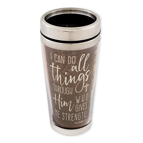 Can Do All Things Phil. 4:13 Scripture 16 Ounce Stainless Steel Travel Tumbler Mug