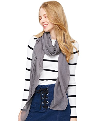 Free Scarf - EUPHIE YING Women Soft Shawl Wrap Scarf Lightweight Fashionable Long Scarf (Dark Grey02)