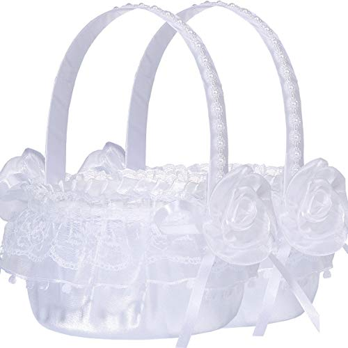 M&A Decor Flower Girl Basket Set of 2 Elegant White Lace Basket for Flower Girl, 2019 New
