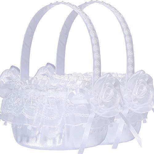 M&A Decor Flower Girl Basket Set of 2 Elegant White Lace Basket for Flower Girl, 2019 New]()