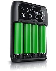CSL – Universell batteriladdare – batteriladdare intelligent batteriladdare – för Li-ion, NI-MH, NI-Cd, LiFePo4-batterier 18650 AA AAA-batterier och batterier – LCD-display med realtidsvisning