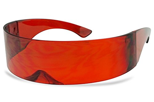 SunglassUP - One Piece Futuristic Wrap Around Novelty Cyclops Robocop Sunglasses (Red) (Sunglasses That Play Music In Your Head)