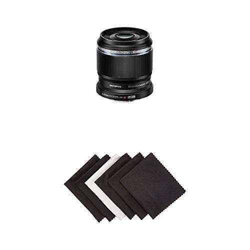 Olympus M.Zuiko Digital ED 30 mm f3.5 Lente macro, negro con paños de microfibra Amazon Basics