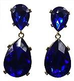 HONEYJOY Fashion Simple Water Drop Crystal Stud Earrings Big Gems Pendant Dangle Jewerly (blue)