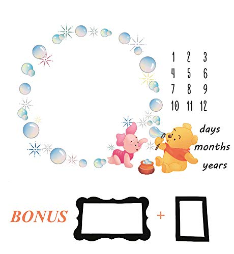 Baby Monthly Milestone Blanket, 40×47 Inches Infant Newborn First Year Winnie The Pooh Blowing Bubbles Milestone Blanket, Polyester Fiber, Best Baby Shower Gift, Photography Backdrop Photo ()