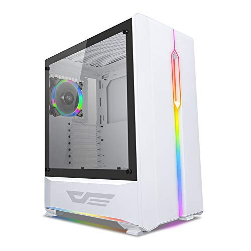 darkFlash T20 ATX Mid-Tower Desktop Computer Gaming Case USB 3.0 Ports Tempered Glass Windows with 1pcs 120mm LED Rainbow Fan Pre-Installed (White)