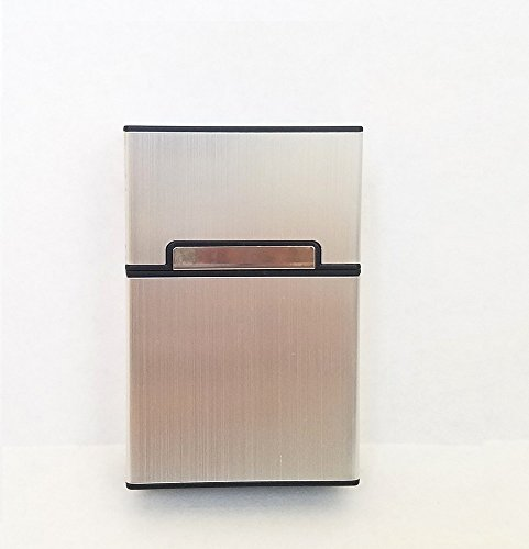 Brushed Aluminum Cigarette Case, Hard Box and Holder with Solid Magnetic Flip Top Closure (King Size) (Metallic Silver)