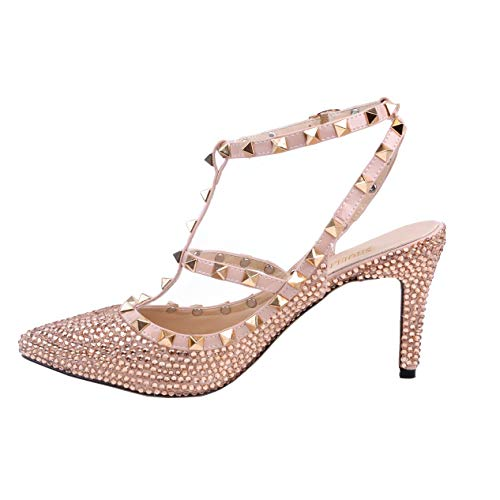 SHOELIN Stiletto Heels-Rhinestone, Women Champagne Pointed Toe Crystal Evening Dress Shoes for Women's Lace Long Sleeve Floor Length Evening Dress 08412 (Sexy Pink Lace Stiletto Heel)