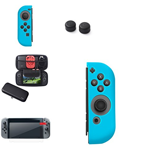 Wii Essential Starter Kit (Insten Nintendo Switch Starter Kit - Including Travel Carrying Case, Joy Con (L/R) Cover, Thumb Grip Stick Caps & Screen Protector For Nintendo Switch Console Controller [2017 New Release], Bk/Blue)
