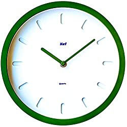 The Kef Clock by Marksson 》Round modern contemporary design. This 10 Quartz, Kale Green wall clock is Non-Ticking and 100% silent. Perfect wall décor for any bedroom, office, kitchen or lounge room.