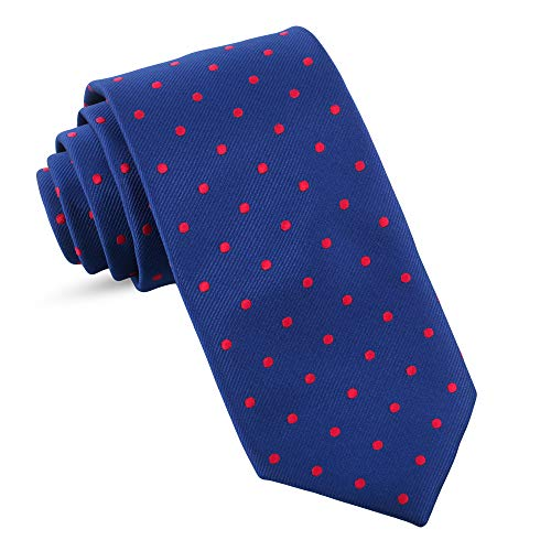 Handmade Ties For Men: Skinny Woven Slim Tie Mens Ties: Thin Necktie, Solid Color Neckties For Every Outfit (Dots - Navy Blue & Red, 3