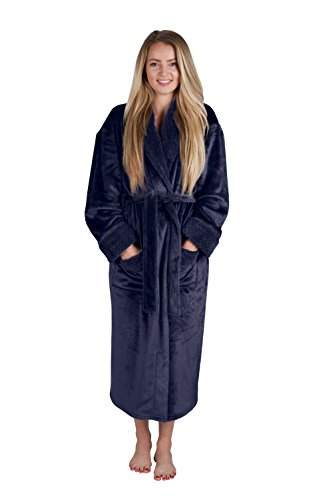 Love This Robe Women's 48'' Spa Style Full Length Robe with Velvet Collar & Cuffs Plus Sizes Avail. (Large, Indigo Blue) by Love This Robe