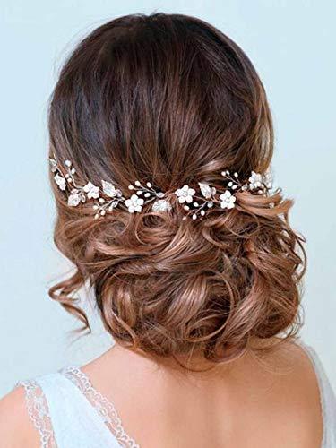 Barogirl Wedding Headpiece Rose Gold Bride Flower Hair Vine Pearl Bridal Crystal Headband for Women -