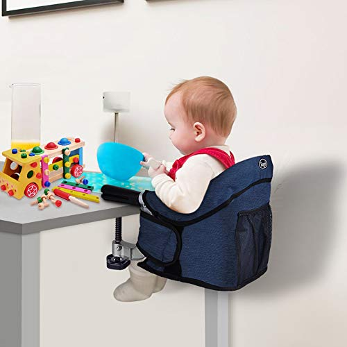 Hook On Chair, Clip on High Chair, Fold-Flat Storage Portable Feeding Seat, High Load Design, Attach to Fast Table Chair(Navy Blue) (Baby Sassy Feeding)
