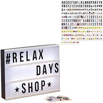 Relaxdays Pack Caja de Luz Led con 325 Letras, Símbolos y Cifras ...