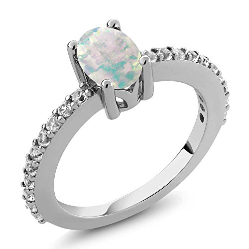 Sapphire Cabochon Ring (0.93 Ct Oval Cabochon White Simulated Opal White Created Sapphire 925 Sterling Silver Ring (Ring Size 9))